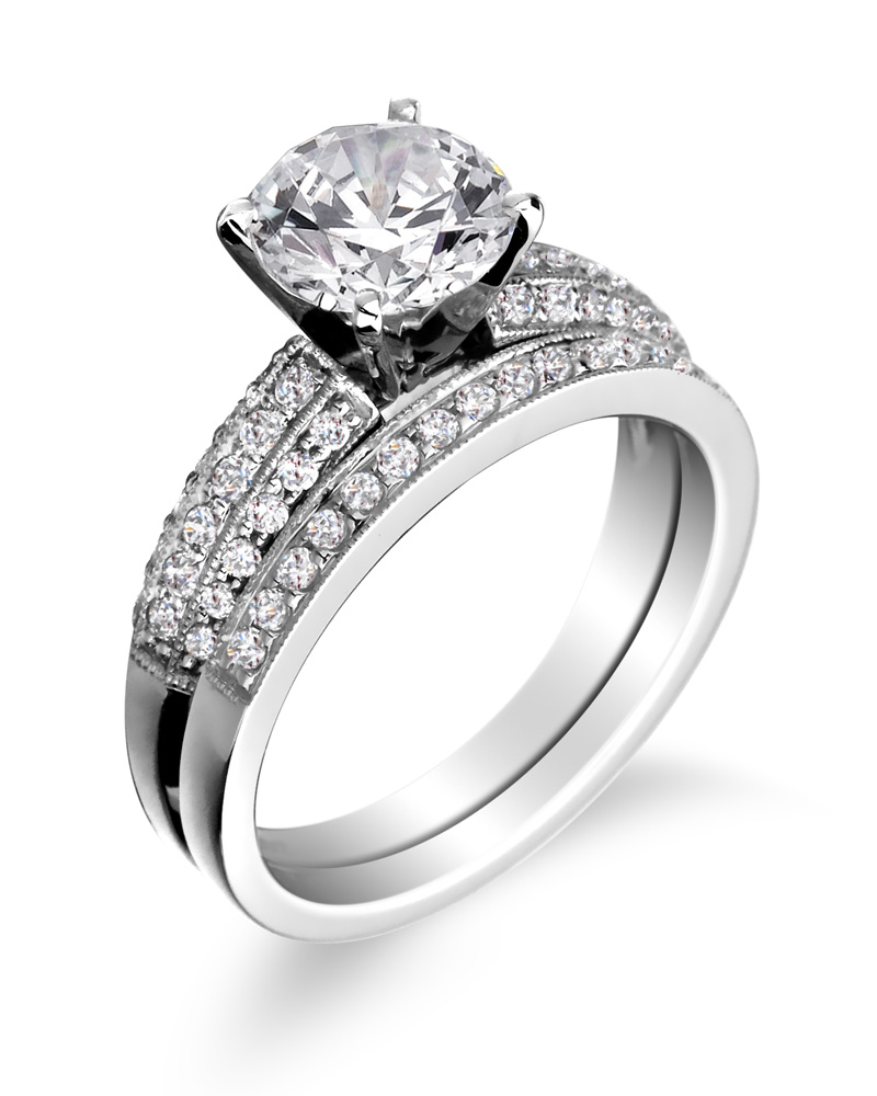 engagement ring with wedding band - Wedding Band Rings